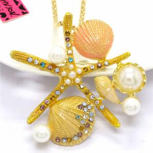 Cute Yellow Enamel Starfish Shell Pearl Crystal Pendant Betsey Johnson Necklace