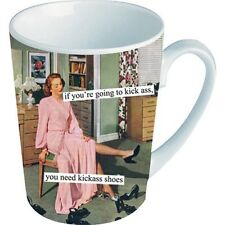NEW Anne Taintor Ceramic Mug Cup Funny Wity Fun Retro Gift - KICK ASS SHOES
