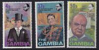 GAMBIA 30 NOVEMBER 1974 WINSTON CHURCHILL CENTENARY SET OF ALL 3 STAMPS MNH