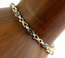 Women's 4.07 ct Mystic Topaz & Diamond Gemstone Bracelet in 14k Solid Gold