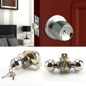 UK Stainless Steel Round Knobs Privacy Passage Entrance Lock Door Entry with Key