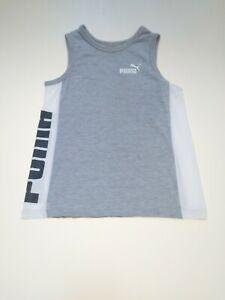Puma Boy's Grey & White Logo Muscle T-Shirt Size Small (8)