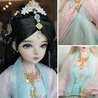1/3 60cm Girl BJD Doll + Antique Dress Full Sets Black Wigs Hair Blue Eyes Gifts