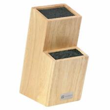 Zelancio Universal Slotless Oak Wood Knife Block w/ Rubber Flex Rod, Block Only