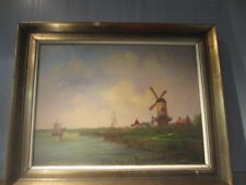 old  painting  signed GDW dutch city in wooden frame harber