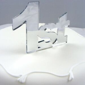 1st Cake Topper, Silver 3mm Acrylic Mirror 10cm x 10cm (6cm letter height)