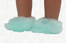 Doll Clothes Slippers Fuzzy Aqua Fit 18 inch American Girl