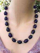 Handcrafted Cobalt Glass Beads Rhinestones Necklace SET