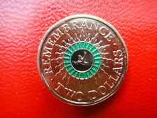 2014 AUSTRALIAN  $2 TWO DOLLARS  REMEMBRANCE DAY GREEN COLOUR RING COIN   UNC