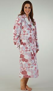Slenderella Womens Dressing Gown, Wrap. Premium Stretch Velour. Soft & Luxurious