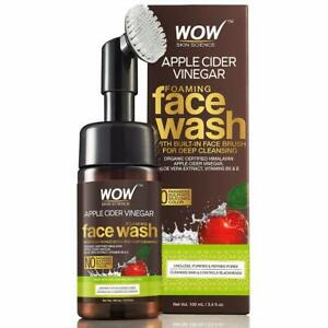 WOW Organic Apple Cider Vinegar Foaming Face Wash with Built-In Brush 100ml X1