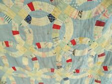 Antique Late 1800's Early 1900's Blue Wedding Ring Pattern Patchwork Quilt