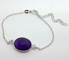 Amethyst oval Fine Bracelet solid Sterling Silver, Actual One, Multifaceted