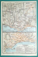 PORTUGAL Funchal City Town Plan & Environs Madeira Island - 1911 BAEDEKER MAP