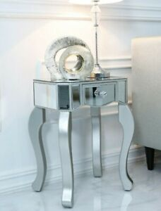 Venice Mirrored silver glass lamp table height 55cm