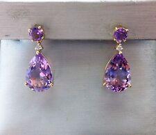 NEW 5ct Purple Amethyst & Diamond Teardrop Pear-Shaped Drop Earrings-10K Gold