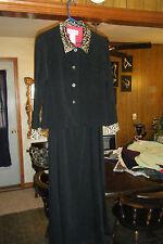 JESSICA HOWARD 2 piece Full Lenth Black Velour DRESS & JACKET Leopard Print 12