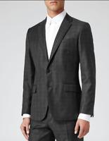 NEW Mens REISS Grey Gilstone Check Jacket / Blazer Size 44 - RRP £245