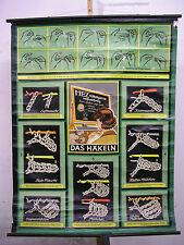 School Wall Picture Nice Old Card Crochet 97x127cm Vintage Map ~ 1950 Yarn Needles