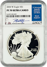 2008 American Silver Eagles W PF 70 Ultra Cameo signed by Rhett Jeppson