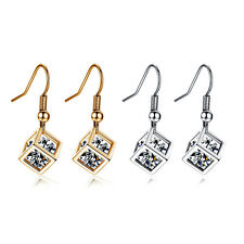 Mystic Square White gold filled Lucky Cube Womens Dangle Dorp Hook earrings