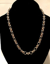 Chainmaille Sterling Silver and Gold Filled Twisted Ring Link  Necklace. 18 In.