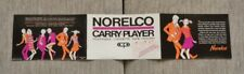 >orig. 1968 Philips-Norelco Carry-Player PORTABLE CASSETTE TAPE PLAYER MANUAL
