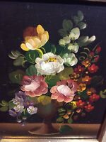 Vito Ruggeri's Original Oil Painting Bouquet of Flowers Signed by the Artist.