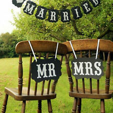 2pcs Mr and Mrs Photo Booth Props,  Chair Signs Wedding Reception Decor QY