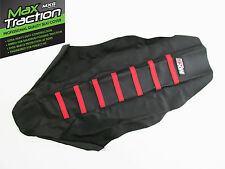SUZUKI RMZ450 RIBBED GRIPPER SEAT COVER BLACK WITH RED STRIPES RIBS MOTOCROSS
