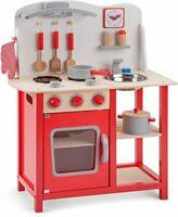 New Classic Toys Red Wooden Pretend Play Toy Kitchen for Kids with Role Play Bon