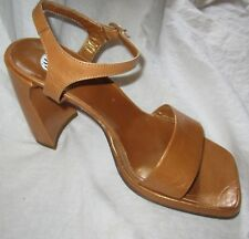 New $200 High Heels Sandals Shoes MADE IN ITALY Sz 8 Ankle Strap Golden Tan IXOS