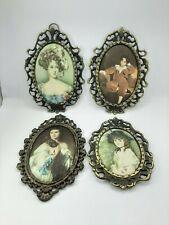 Set of 4 Plaques-miniatures. Silkscreen print of Portrait in oval bronze frame