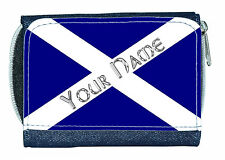 SCOTTISH FLAG PERSONALISED DENIM PURSE / MINI WALLET - * GREAT NAMED GIFT *