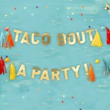 GOLD TACO PARTY POMPOM AND TASSEL PARTY BUNTING - VIVA LA FIESTA, Mexican Party