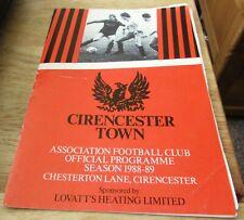Cirencester Town v Cheltenham Town Reserves. 28th September 1988.