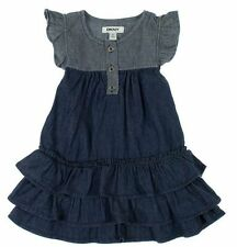 NEW DKNY Girls' Cap Sleeves Cotton Summer Dress Colonial Stone Wash 7
