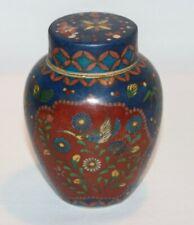 C1870 ANTIQUE Japanese TOTAI Cloisonne On Porcelain TEA CADDY Jar MARKED