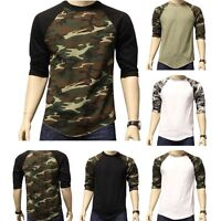 New 3/4 Sleeve Camo Raglan Baseball Mens Army Camouflage Sports T-Shirt S-3XL