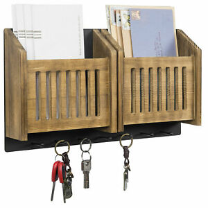 2 Slot Wooden Mail and Key Rack Solid Wood Wall Mounted Cabinet - Black Metal