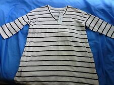 Ladies Maternity White with Black Striped 3/4 Sleeved Top Size 12