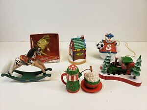 Vintage Christmas Holiday Decorations Ornaments Lot of 6 Hallmark, AGC & Others