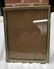 "Vintage Gold Tone Metal or Brass Picture Frame 8 x 10"" Velvet Back & Stand"