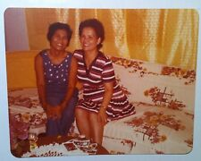 Vintage Photography PHOTO FILIPINO SISTERS SITTING ON FLORAL PRINT COUCH COVER
