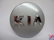 "Factory OEM Kia Wheel Center Hub Cap Silver w/ Raised Chrome Emblem 2.315"""