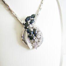 Collier Gold 585er Saphir Brillanten Halskette 14 kt. Goldschmuck Damen Diamant