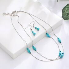 Elegant Women Silver Gold Turquoise Jewelry Set Necklace Earrings 2 Layers Chain