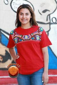 Mexican Blouse Style Hand Embroidered  T-Shirt NEW  and UNIQUE Fashion