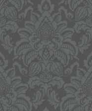 Precious Metals Glisten Damask Wallpaper Gunmetal Grey Arthouse 673201