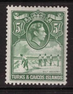 Turks & Caicos Islands King George VI -1938 5 Shillings Mounted Mint SG 204a